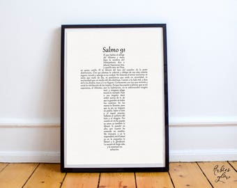 SPANISH Psalm 91 In The Shape of a Cross - Salmo 91 En Forma de Cruz - Bible art - Bible decor - Biblia Cristiano Espanol - Instant download