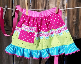 Peace Patchwork Child Half Apron - Ruffled Retro Patchwork Apron - Size S to M