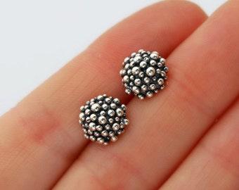 Caviar studs - sterling silver ball studs
