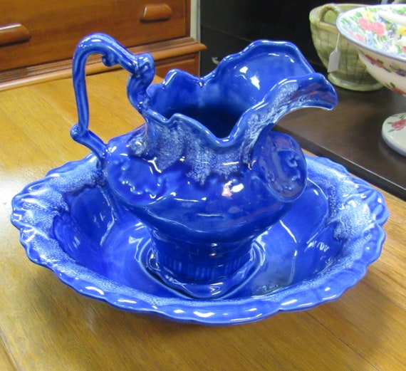 Washbasin cobalt blue bowl and water pitcher