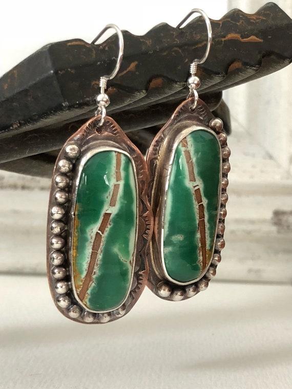 Handmade Jewelry, Australian Variscite Earrings, Southwestern Earrings, One of a kind, Dangle Earrings, Mixed Metalwork Jewelry