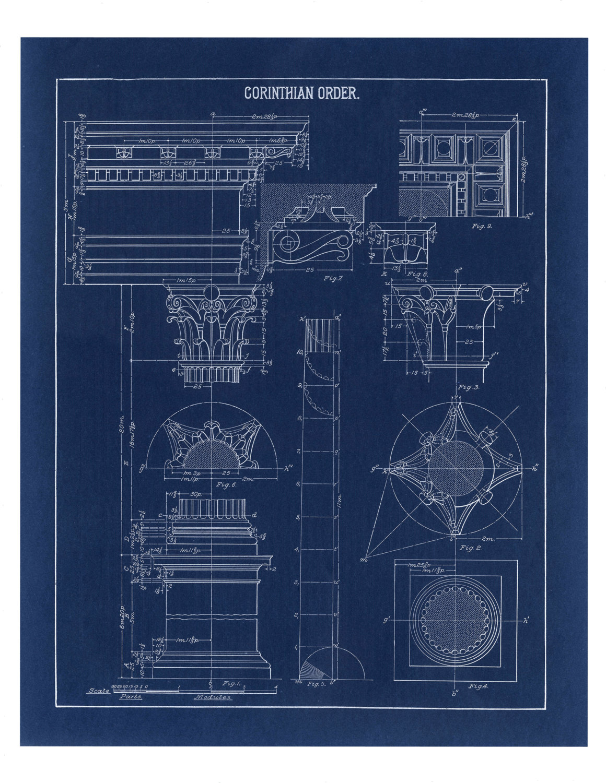 Blueprint wall art corinthian column drawing blueprint wall zoom malvernweather Image collections