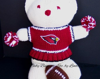Bear, Arizona Cardinals, Cheerleader Bear, Baby Girl Bear, Baby Shower Gift, Birthday Gift, Keepsake Bear, Souvenir Bear