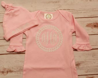 Baby Girl Gown; Monogrammed Baby Girl Gown; Monogrammed Baby Girl Bodysuit; Baby Girl Baby Shower Gift Set; Baby Girl Gown and Hat