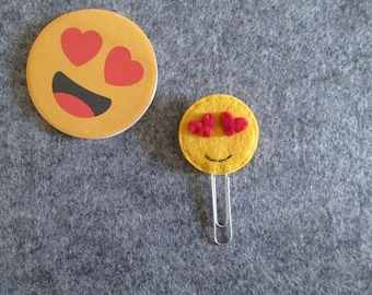 Paper clip with emoticons-Bookmark made of felt-Planner-Planner clip