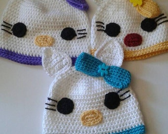Toddler Hello Kitty beanies, ready to ship, custom made orders, kitty, white beanies,