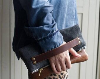 Leather clutch, grey handbag, leather bag, wool purse, handbag, clutch bag, clutch purse, leather clutch bag, cross body bag