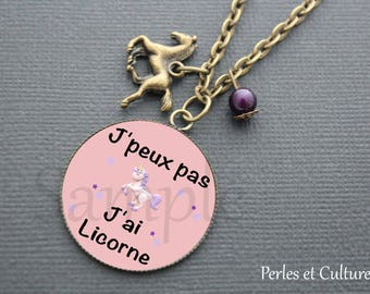 Funny Unicorn necklace - Pink Purple horse cabochon