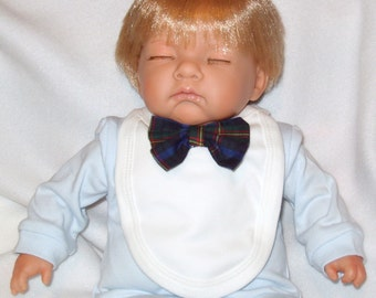 "1 x Tartan Bow Tie White Reborn Baby Doll Bib Feeding Accessory 14""-20"""