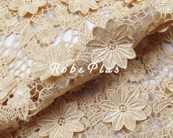 Floral Applique Lace Fabric - Bisque Lace Fabric -Mocassin Lace Fabric-Chemical Lace Fabric-L14