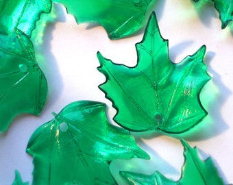 10 Pieces 20mm x 18mm Icy Dark Green Maple Leaves Lucite Leaf Beads Plastic Beads Plastic Leaf Beads Maple Leaf Beads