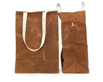 Grocery Tote // Waxed Canvas Bags // Reusable Grocery Bag // Brown Bag