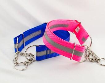 "1.5"" Reflective Half-Check Martingale Dog Collar - MADE TO ORDER"