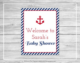 Nautical Baby Shower Welcome Sign - Printable Baby Shower Welcome Sign - Navy Red Baby Shower - Baby Shower Welcome Sign - EDITABLE - SP118