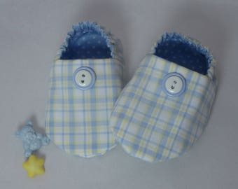 Baby Booties - Blue & Yellow Plaid / Blue Polka Dots - Boys' Booties / Slippers / Footies / Moccasins - Baby Gifts