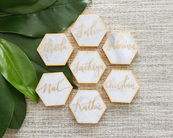 2 Inch// Customized Calligraphy Hexagon Marble Coasters. Wedding Place Cards. Escort card. Personalized Hexagon Coasters.Wedding Favors.
