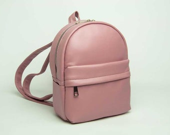 Eco leather backpack Mini backpack Pink backpack Vegan leather rucksack Small backpack Women rucksack City backpack Faux leather