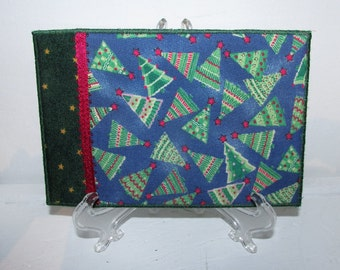 Quilted Postcard, Fabric Postcard, Mini Art Quilt, Funky Christmas Trees