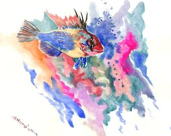 blue ram fish, Original watercolor painting, 9 X 12 in, blue purple aquarium fish art