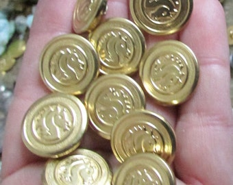 horse buttons set of 8 gold