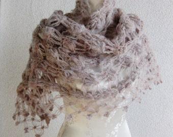 Bridal Shawl, Wedding Shawl, Soft pastel shades, pastel, ecru, crochet Shawl, Triangle Shawl, OOAK