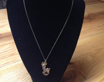 Vintage Goldtone with Rudolph Reindeer Pendant Necklace, Length 18''
