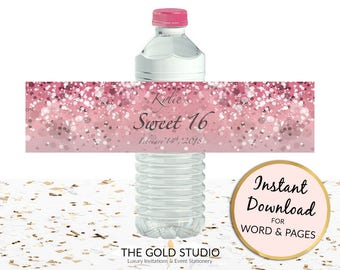 Printable Pink Water bottle labels Sweet 16 custom bottle covers Sweet sixteen drink sticker for Mac or PC, Word or Pages Instant Download