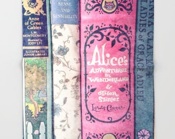 A Perfect Library Throw Blanket: Alice in Wonderland, bedding, books, girl's room, Jane Austen, pink,  librarian,