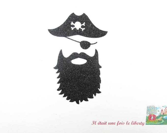 "Pirate ""Blackbeard"" black glitter flex fusible applique pattern fusible iron-on patch pirate head pirate glitter pattern"