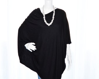 Black Poncho/ Lightweight Nursing Cover/ Nursing Shawl/ Breastfeeding Cover/ One shoulder Top/ New Mom Gift/ Custom Womens Poncho