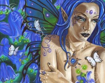 Bluebell Faerie - Giclee, Print, Original Art, 13.5 x 9.5