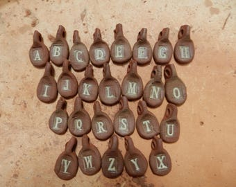Letter pendant,  stoneware pottery clay, letters A thru Z