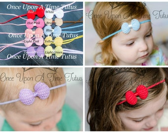 Pick One (1) Mini Crochet Bow Skinny Elastic Headband - Photo Prop Hairbow Newborn Baby Accessory - Little Girls Hair Bow Basic Accessories