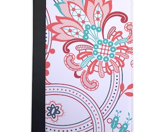Pink & Blue Paisley Pattern Folio Case For The iPad Mini 1, 2, 3 and 4 Only