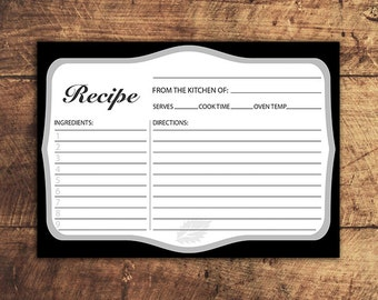 Printable Recipe Card, 5x7 Printable Recipe Cards,Instant Download, Kitchen Decor, Kitchen Cook Book, Printable Bridal Shower Game, Gift
