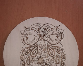 Owl welcome wooden wall hanger