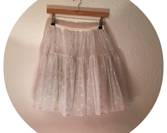 Vintage 50's White and Pastel coloured Ruffle Floaty Skirt Size 8-14