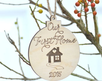 Our first home Christmas ornament- housewarming gift - gift under 10