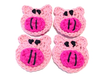 Itty Bitty Piggie Crocheted Make-Up Removers- Lot Of Four
