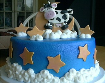 Fondant Moon, Stars and Cow Cake Topper Set
