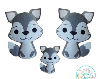 ITH Wolf Toy Machine Embroidery Pattern, ITH Wolf stuffie, in the hoop Wolf plushie, Red Riding Hood Wolf, Wolf Cub, ITH Stuffie,