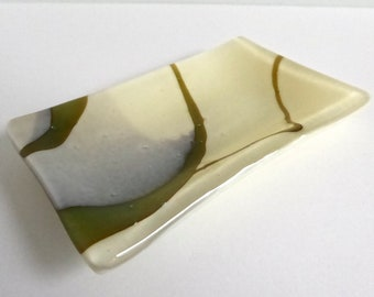 Fused Glass Small Dish in Streaky French Vanilla by BPRDesigns
