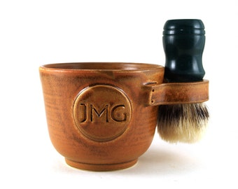 Personalized Shaving Mug with Initials Husband Pottery Anniversary Fathers Day Gift Brush Not Included Allow 6 to 8 Weeks