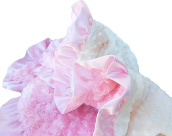 Minky Baby Blanket Pink  and Cream  Blanket with Satin Ruffle Trim