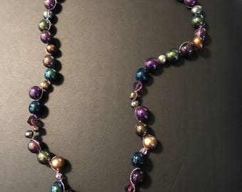 "One of a kind, Metallic and Multi-colored Festive choker  15"" in length."