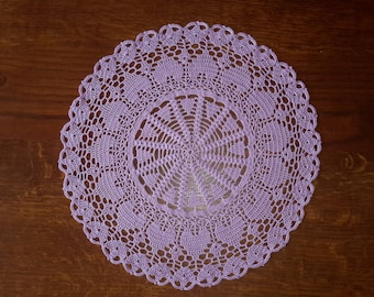 Lace/doily hand crocheted, 38 cm, lilac color