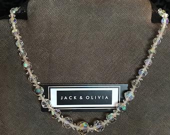 "Vintage Aurora Borealis Crystal Necklace - 16 1/2"" length - Graduated Size"