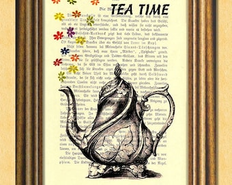 TEA TIME -  Dictionary art print - Wall Decoration - Antique Book Page upcycled - Art Print Dictionary