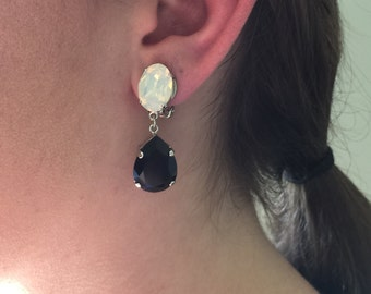 Swarovski White Opal and Jet Black Crystal Clip On Dangle Earrings