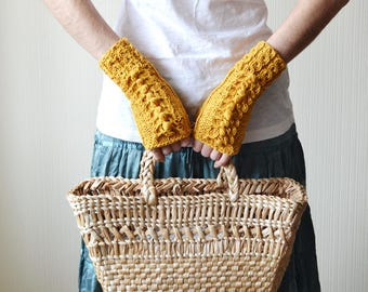 fingerless gloves wanderlust arm warmers cotton birthday gift for mom knitted gloves boho gloves womens gloves cotton gloves mustard gloves
